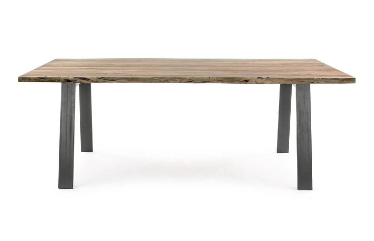 Table Aron 200X95, Table with wooden top with irregular edges