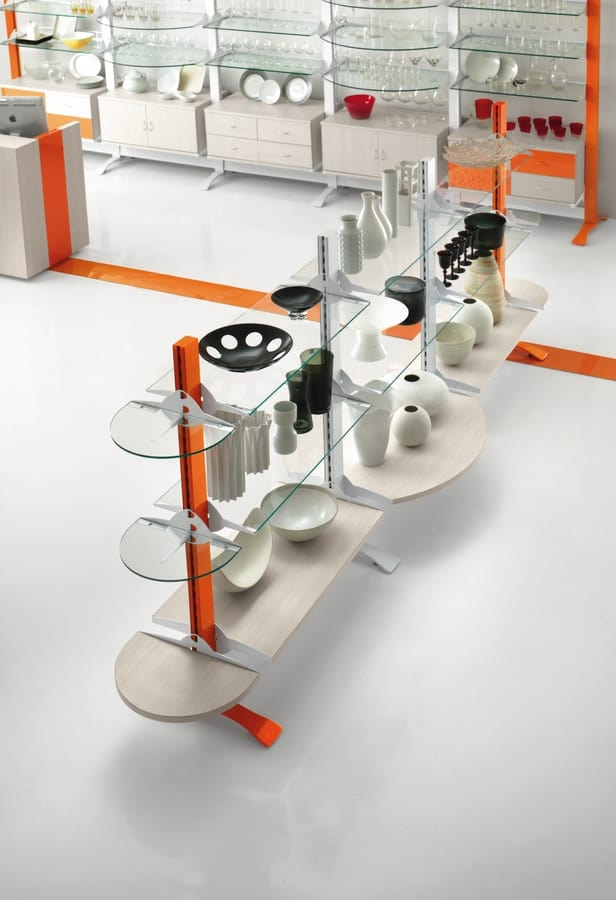 Contemporary - exhibition gondola for household shops, Freestanding display gondola for shops
