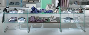 Glassystem COM/GS3, Glass shelves for shops