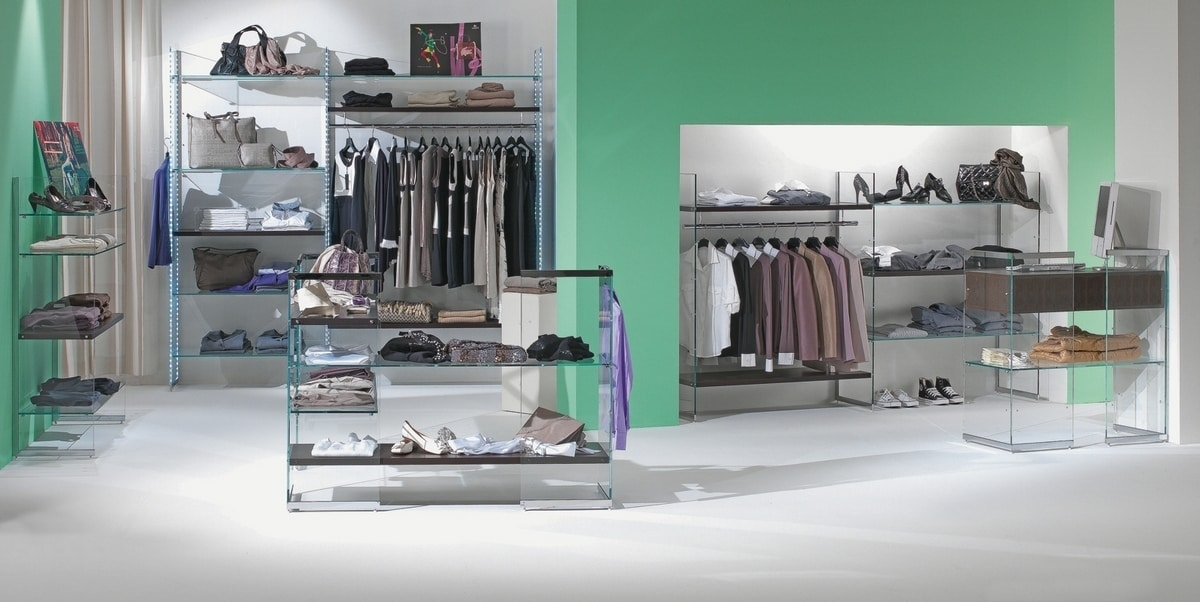 Glassystem COM/GS1, Glass furniture for clothing store