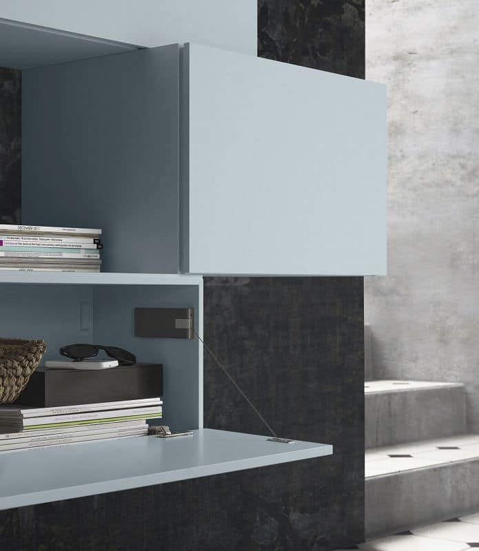 People P206, Modular shelf, in wood, with custom cabinets