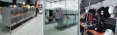 Socrate clothes shop, Shelving systems for shops, various finishes and accesories
