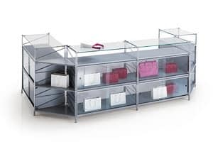 Socrate counters, Modular Counter for stores in various sizes and finishes