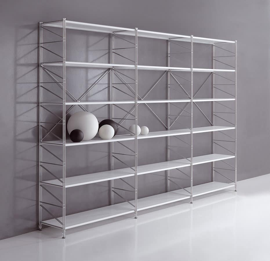 Socrate office, Modular shelving for libraries and shops