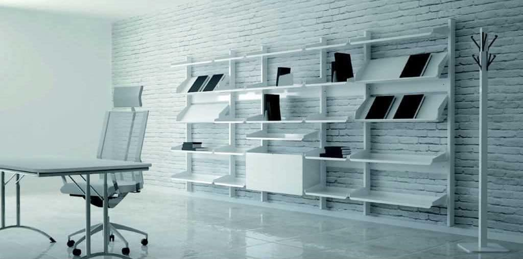 TOTEM, Modular exhibitor furniture with metal structure and shelves