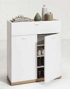 Multipurpose White Shoe Rack With Oak Base Drawer 16 Shoes, Modern shoe rack