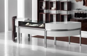 Revolution - cash counter for clothes stores 2, Curved counter for shop cash desk, with display drawer
