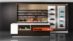 Revolution - cash counter for tobacconists and stationer, Shop cash counter, with display cabinet