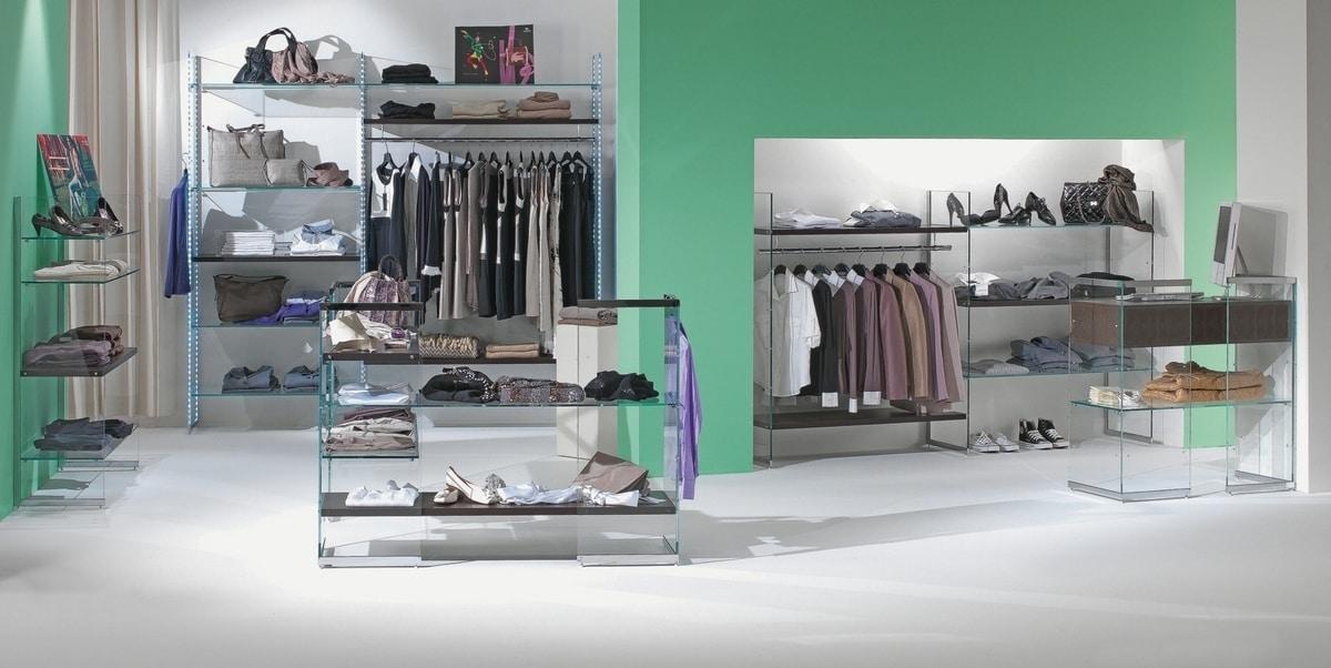 Glassystem COM/GS9, Corner shelving for shops