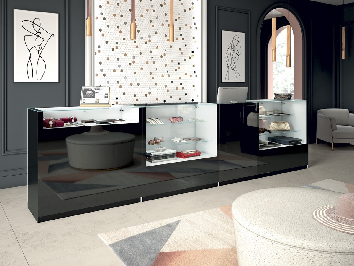 Glossy comp.01, Shop furniture