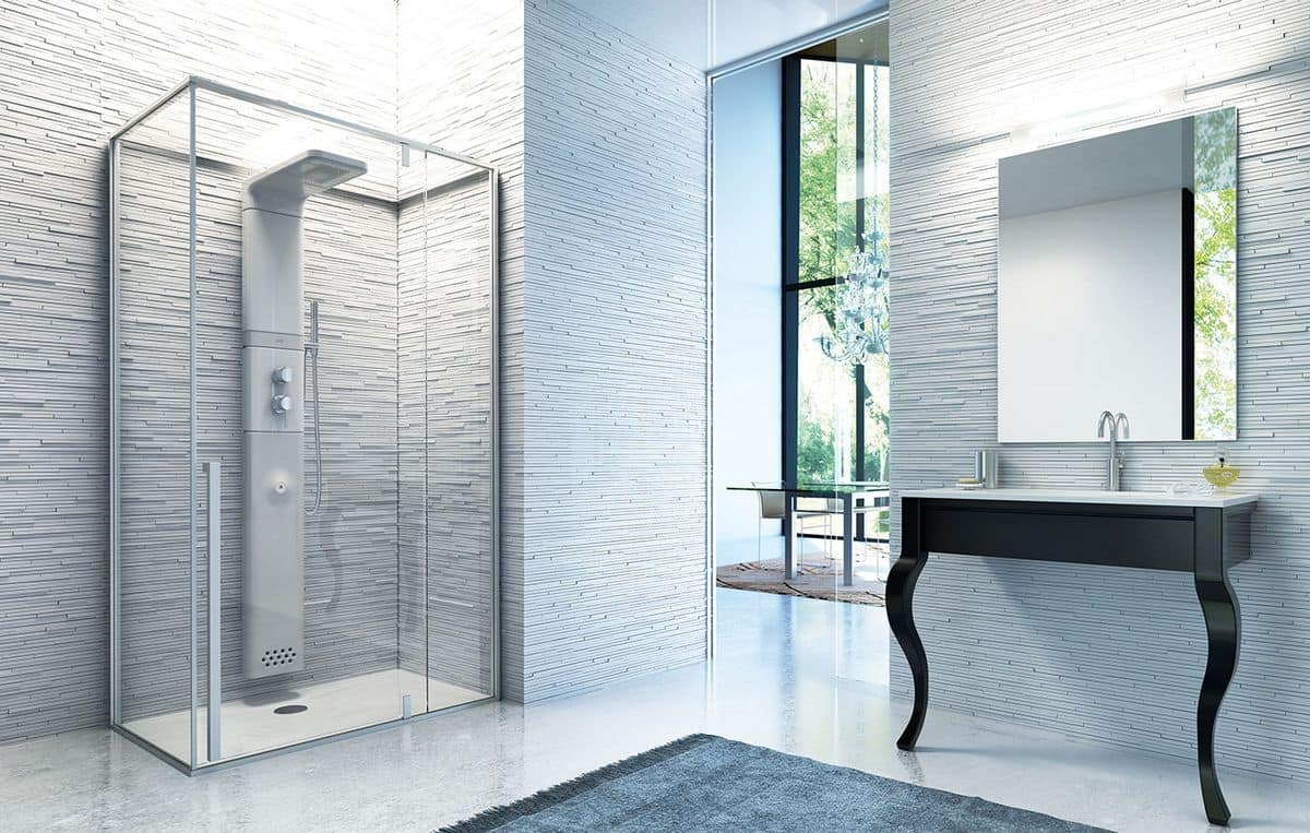 Hammam shower with ceramic shower panel, niche installation | IDFdesign