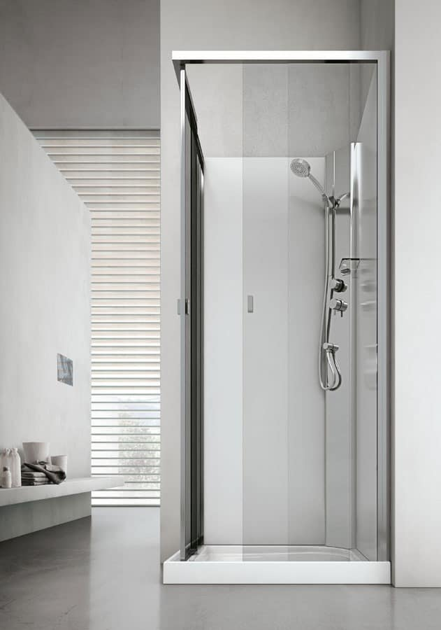 Shower with seat, in glass, for modern bathroom | IDFdesign