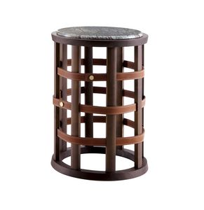 712106 Harris, Round small table in wood, leather and marble