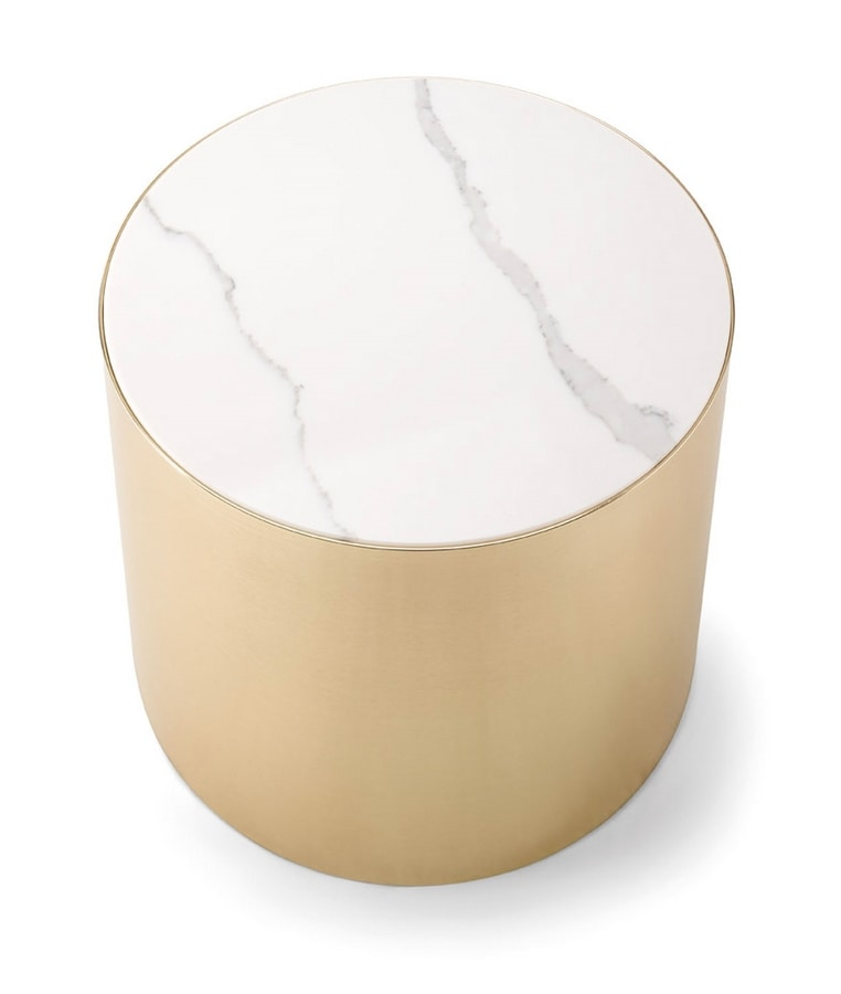 ALEXANDER COFFEE TABLE 084 H45, Round coffee table with marble top