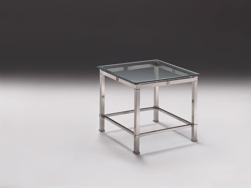 AMADEUS 3064, Modern side table in nickel brass, glass top, Lounge