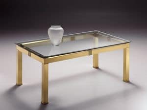 AMADEUS 3066, Rectangular coffee table in brass, glass top