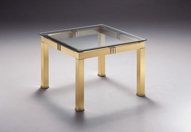 AMADEUS 3067, Square coffee table, with glass top, for living rooms