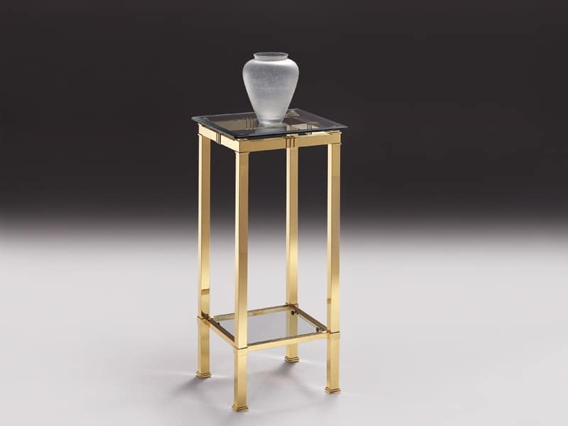 AMADEUS 3094, High table for the living room, in brass and crystal