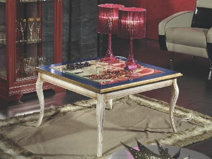 Armonie coffee table, Square coffee table with decorated top