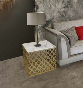 ART. 3338, Square side table with marble top