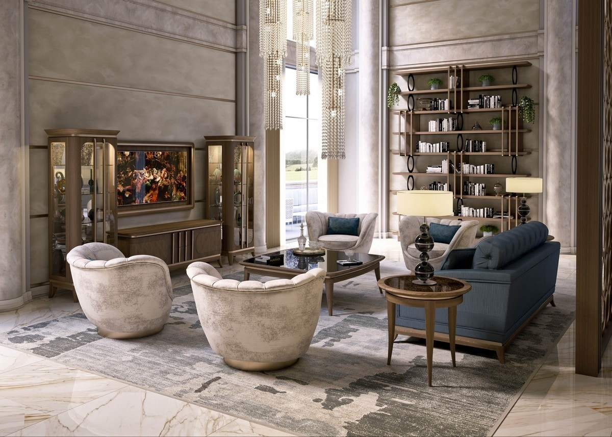 Art. 5050, Round coffee table with marble top