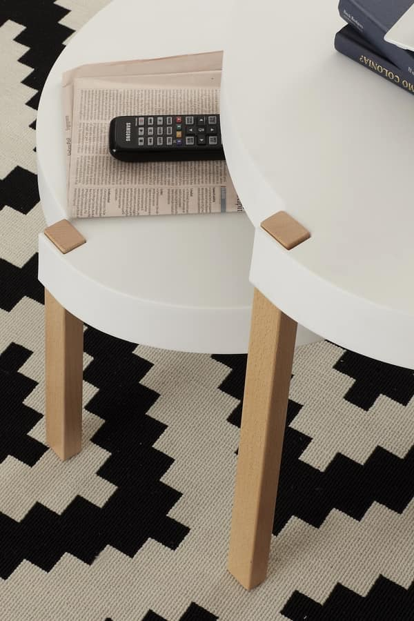 Art. 810 Yin - 812 Yang, Coffee tables in solid beechwood and polypropylene