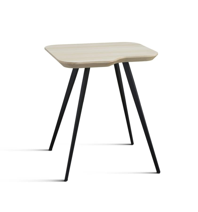 ART. 00102-SMALL-MET AKY, Design coffee table with metal legs and ash top