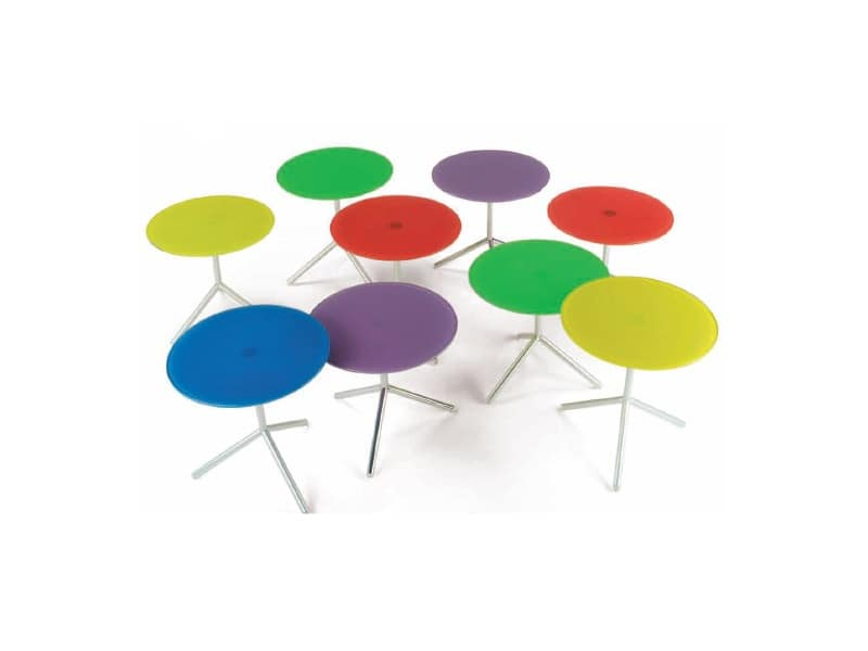 Atom 2, Coffee table with top made of colored extraclear glass
