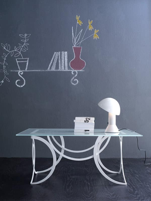 Azzurra coffee table, Modern metal table with satined glass top