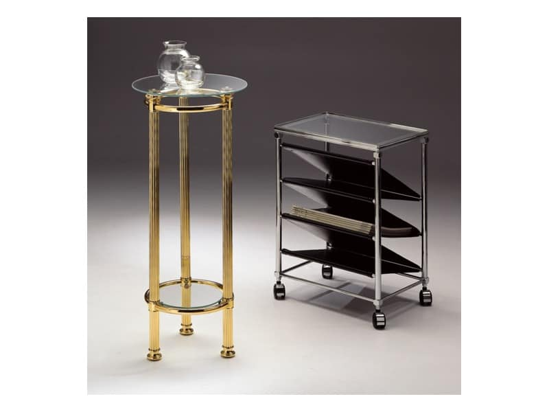 BOHEME 964 , Round table in polished brass, glass top