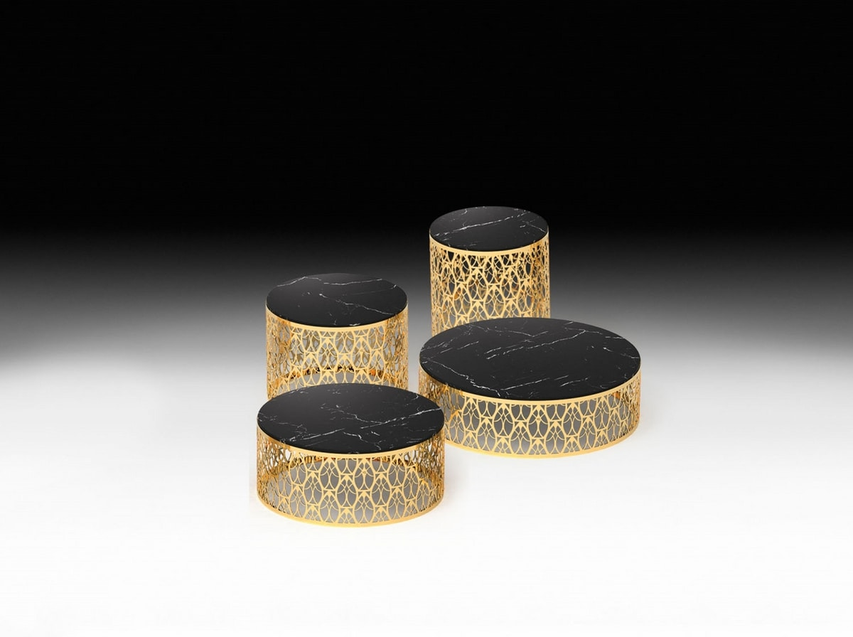 Cabaret, Round coffee tables with marble top