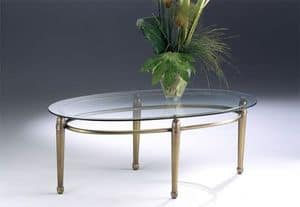 CARTESIO 260, Oval coffee table made of brass, glass top, for living room