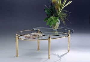 CARTESIO 261, Oval coffee table brass, 2 glass shelves, for living room