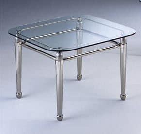 CARTESIO 268, Square coffee table in brushed brass and glass, for living room