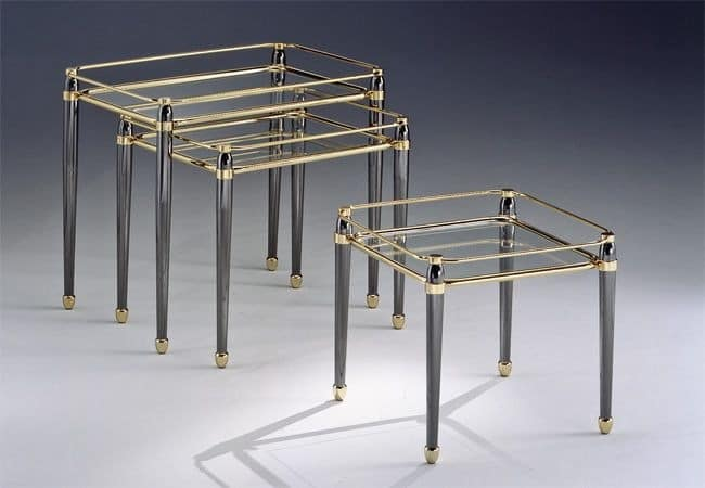 CARTESIO 274, Set brass tables, gold leaf finishes, for living room