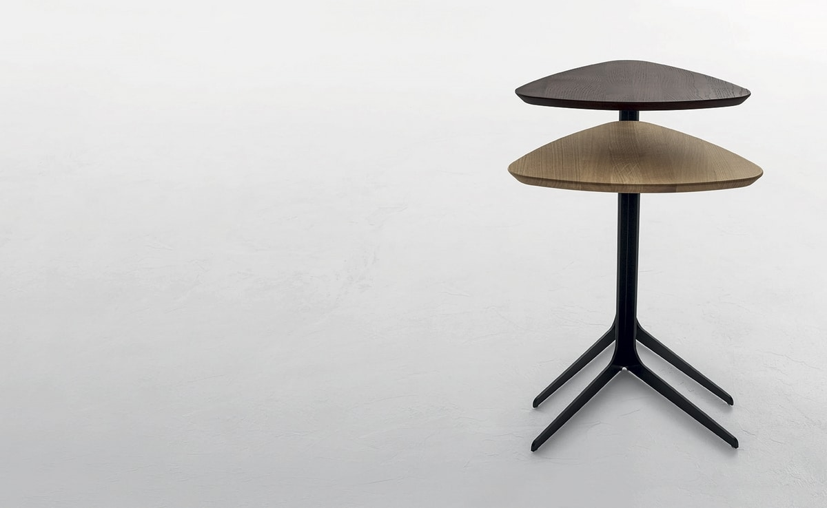 CELINE, Side table with painted metal base, �solid oak or lacquered top