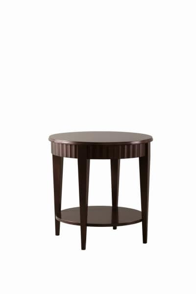 Charles coffee table, Round wooden coffee table with low shelf