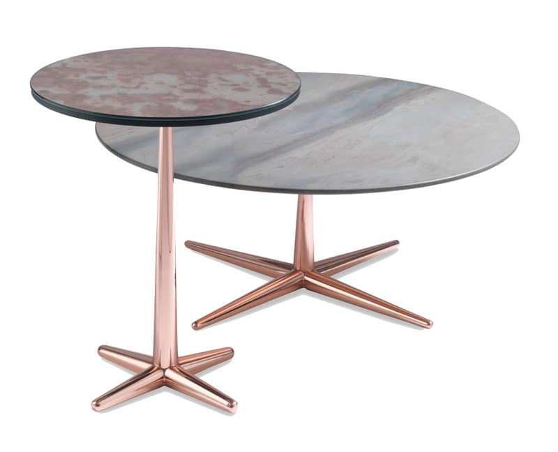 City small table, Coffee table with veneer top, metal base
