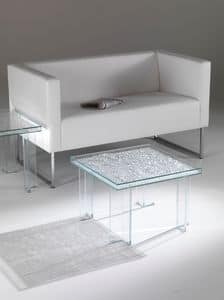Coffee table 01, Coffee table with squared top, made of glass, for sitting room