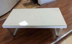 Coffee table 10, Coffee table with eco-leather and glass top