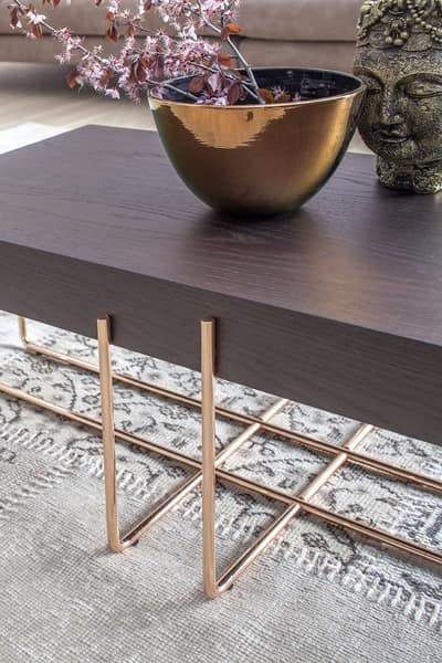 CRUZ, Side and coffe table with metal structure and wooden top