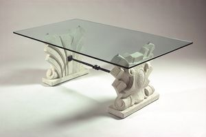 Dante, Coffee table with double stone base