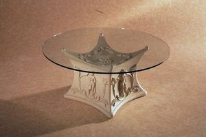 Demetra, Coffee table with base decorated in stone