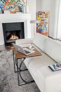 DETROIT, Coffee table with linear design, in metal and glass, for reading room
