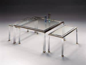 DOMUS 2165 , Coffee table for the living room, chrome-plated brass, gold ornaments