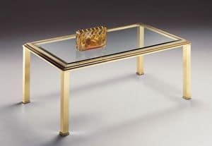 DOMUS 2166, Rectangular coffee table for living room, brass and glass
