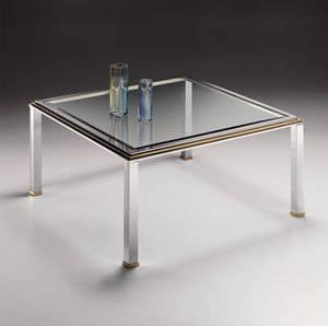 DOMUS 2168, Square coffee table in chrome plated brass and glass with bevel