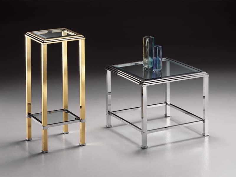 DOMUS 2194, Square high table, gilt brass frame