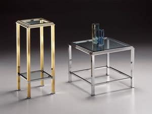 DOMUS 2194, Square high table, gilt brass frame