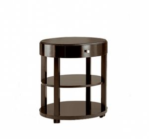 Downtown side table with drawer, Round wooden table with drawer
